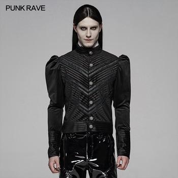 PUNK RAVE Men's Gothic Black Stripe Velvet Stitching Bubble Sleeve Short Shirt Party Club Halloween Christmas Dress Shirt Tops