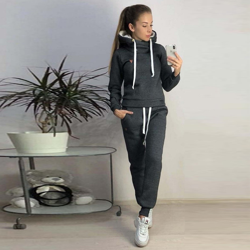LOOZYKIT 2019 New Autumn Winter Women Sets Tracksuit Female Long Sleeve Pullover Jackets Pants Two Piece Set Warm Outfits Suit