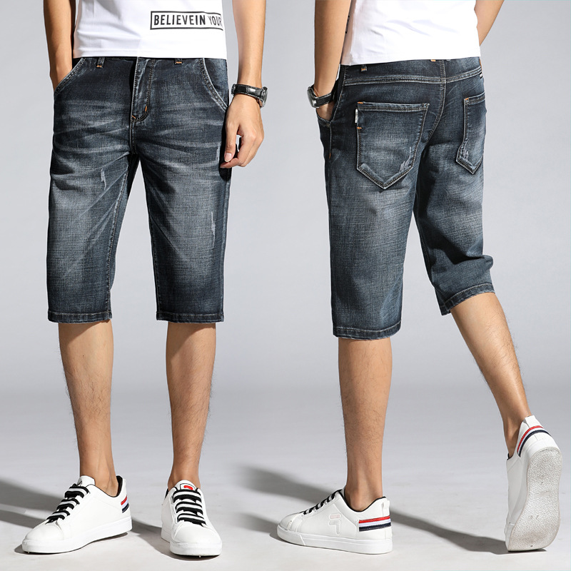 Summer Denim Shorts Men's Brand New Style MEN'S Middle Jeans Elasticity Casual MEN'S Shorts Loose-Fit
