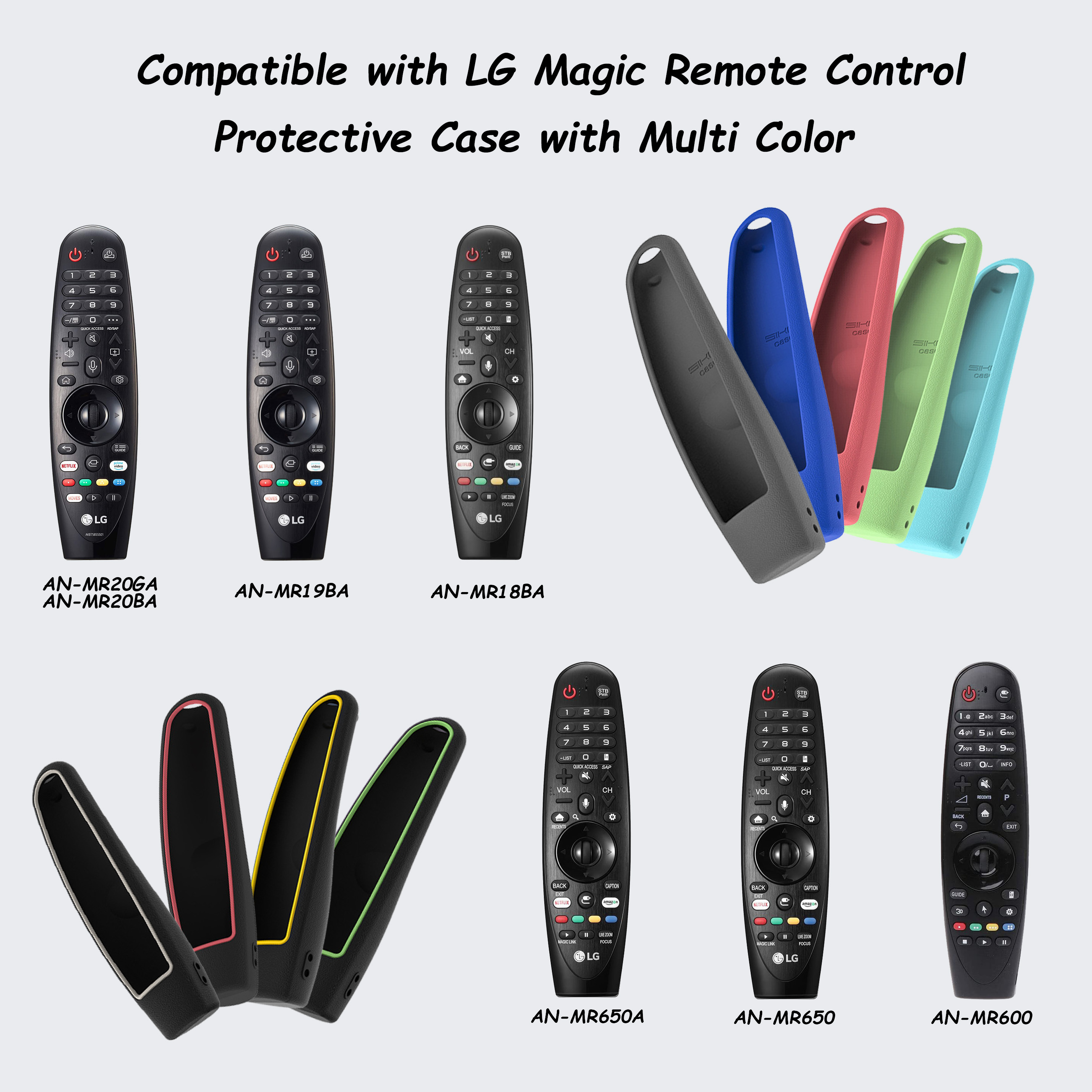 For LG AN-MR600 AN-MR650 AN-MR18BA MR19BA MR20GA Magic Remote Control Cases SIKAI Protective Silicone Covers Shockproof 3
