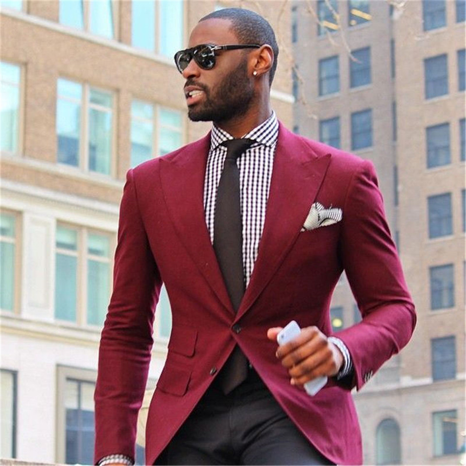 New Men's Suit Smolking Noivo Terno Slim Fit Easculino Evening Suits For Men Groomsmen Groom Tuxedos Red Prom Best Man Suit(Jack