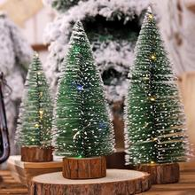 Lovely Glowing Christmas Tree Small Pine Ornaments Window Dressing Decoration with Wooden Base for Batteries