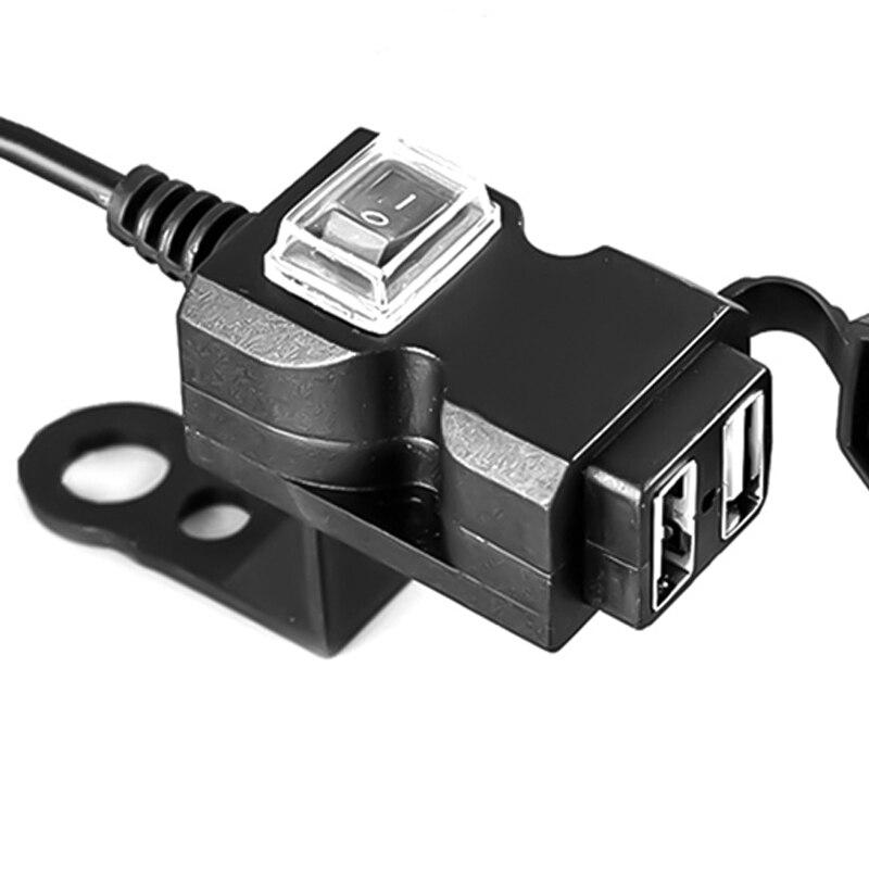 12V-24V Dual USB Автомобильное зарядное устройство мотоцикл руль зарядное устройство адаптер водонепроницаемый питающий кабель Разъем для iphone, ...