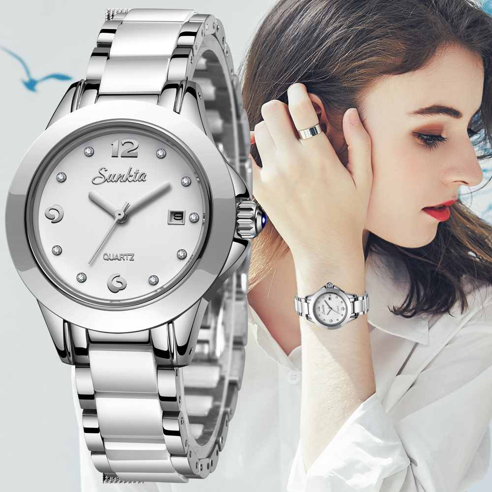 Relogio Feminino SUNKTA Women Quartz Watch Fashion Sport Casual Ceramic Watch Female Crystal Diamond Women Watches For Women+Box