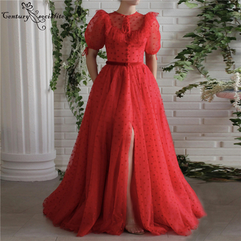 Red Prom Dresses Long with Slit Pockets Pleats Zipper Back Formal Evening Dress with Sleeves Party Gowns Vestido De Festa red mermaid prom dresses 2020 sweetheart zipper back sweep train wedding formal party gowns evening dress vestidos de festa