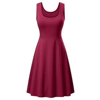 Women Dress 14 Colors Korean V- Neck Summer Bohemia Casual Sleeveless Loose Mid-Length Robe Swing Knee-Length Dress Autumn Beach Casual Dresses Embroidery Evening Knee-Lenght Mini Party Print Dresses Sexy Sleeveless Slim Spring Summer U Neck Dress Women Color: L Size: 4XL