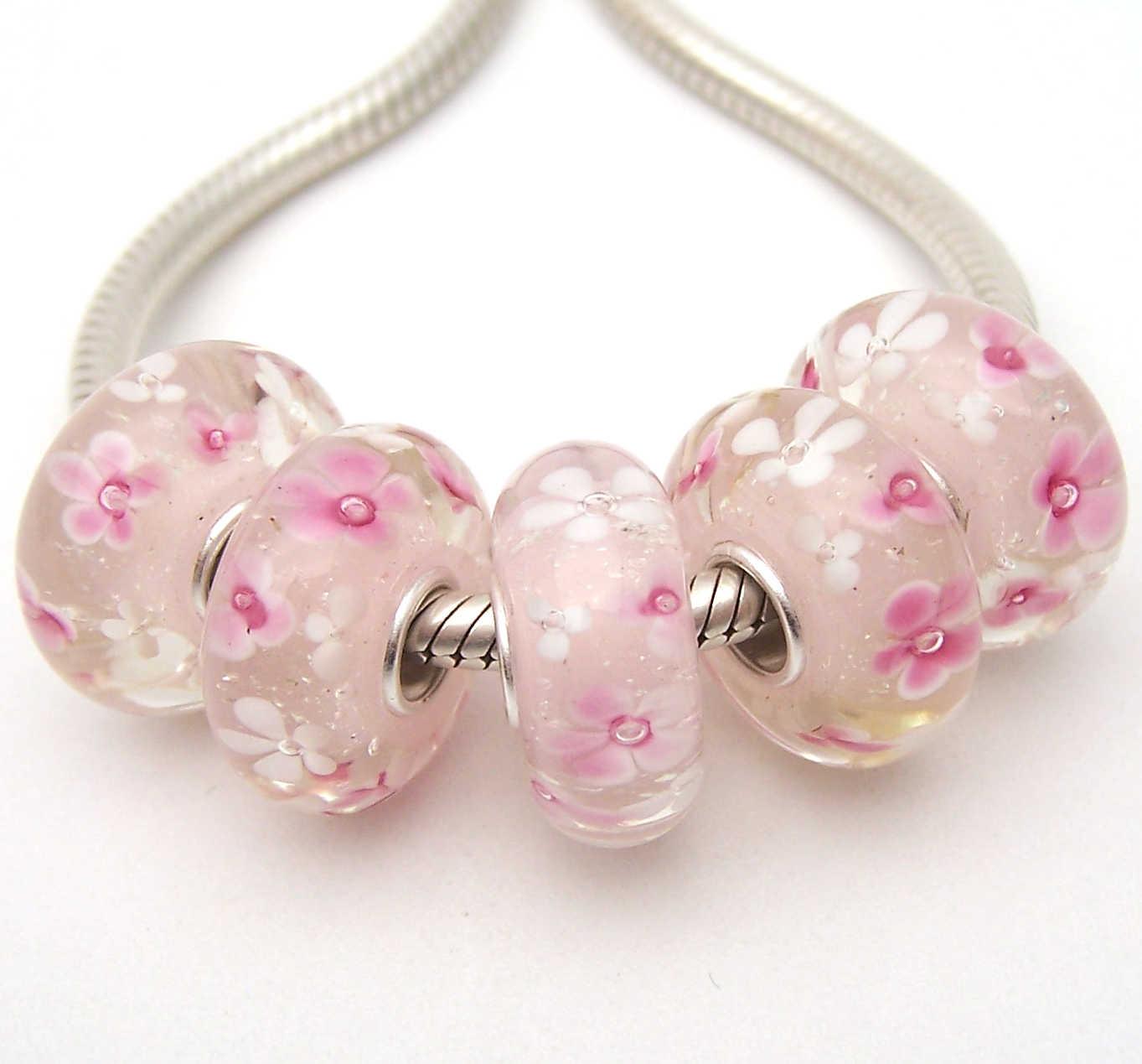 JGWGT 1689 5X100% di Autenticità S925 Sterling Silver Perle di Murano perle di Vetro Europeo Adatto Pendenti e Ciondoli Braccialetto gioielli fai da te lampwork
