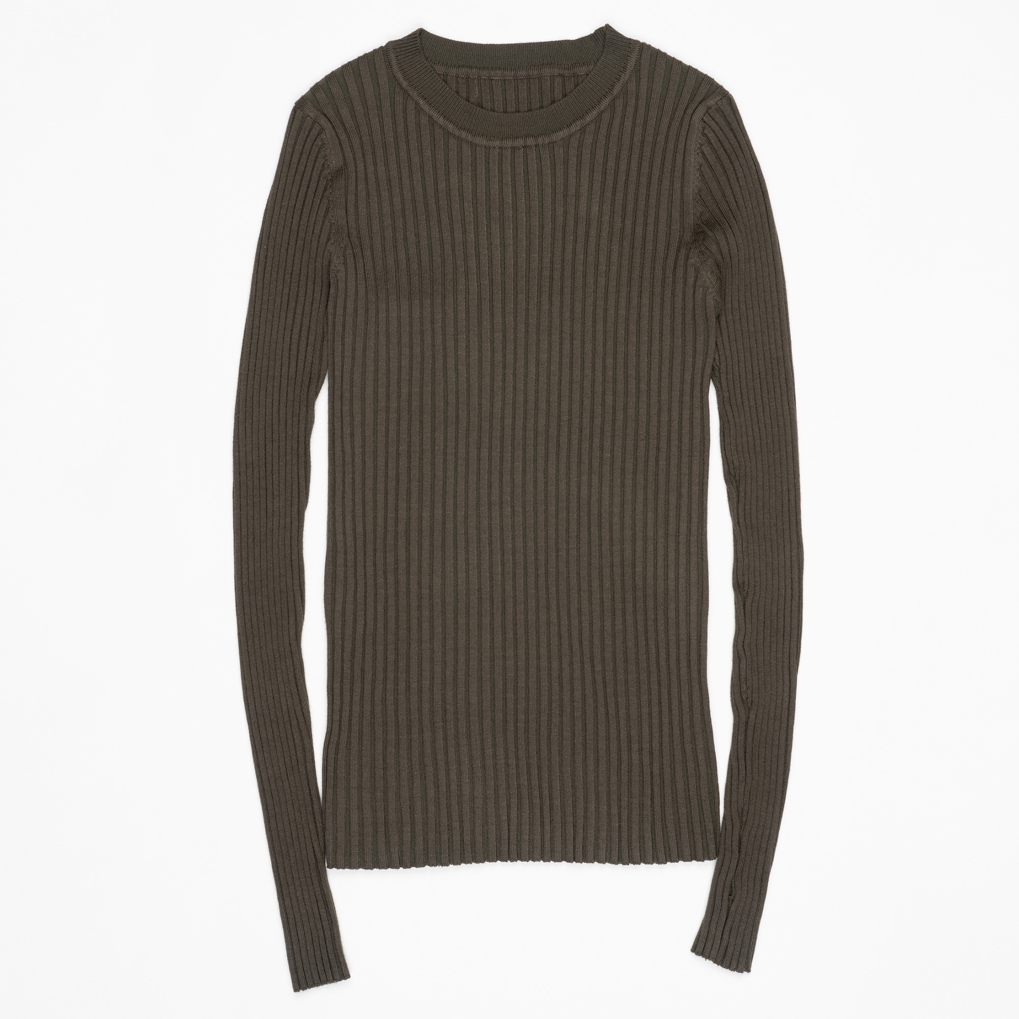 Women Sweater Pullover Basic Ribbed Sweaters Cotton Tops Knitted Solid Crew Neck With Thumb Hole 30