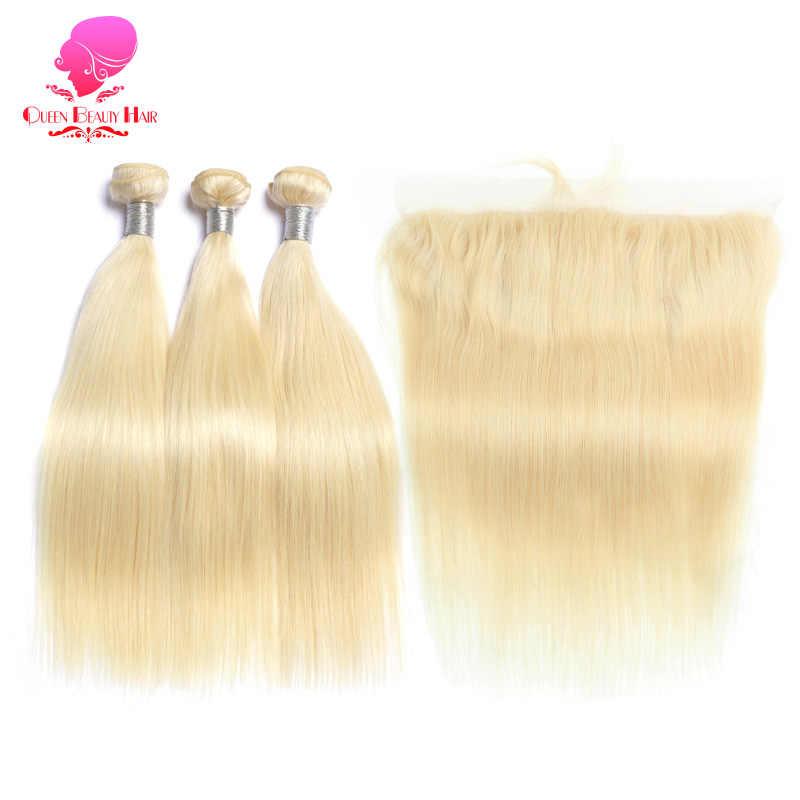 Królowa uroda 613 blond prosto brazylijski włosy splecione ludzkie włosy wiązki z zamknięciem 3PC Remy włosy i 1PC koronkowe przednie zamknięcie