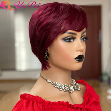 Short Human Hair Wigs Pixie Cut Wig Straight Brazilian Remy Hair Short Full Machine Made Wig With Bangs Color 99J/30#