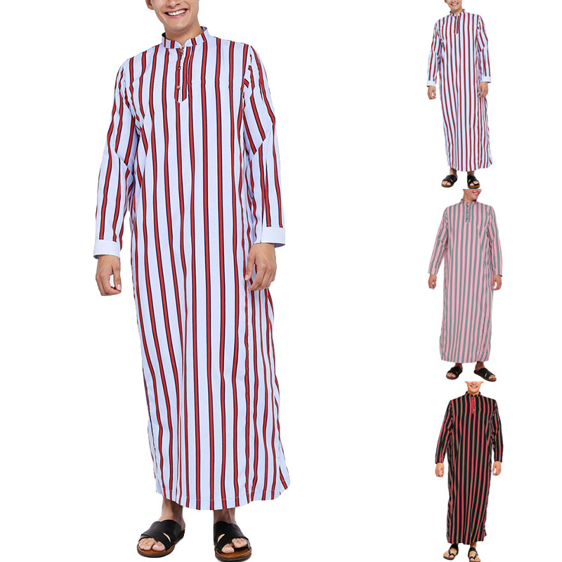 INCERUN Man Casual Arab Muslim Long Blouse Fashion Men Striped Long Robes Fashion Long Sleeve Stand Collar Kaftan Robe Plus Size
