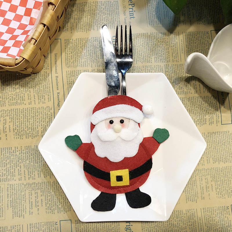 Шляпа Санты, олень, Рождество, Год, карманная вилка, нож, столовые приборы, держатель, сумка для дома, вечерние украшения стола, ужина, столовые приборы 62253 - Цвет: 2PD-63006-1