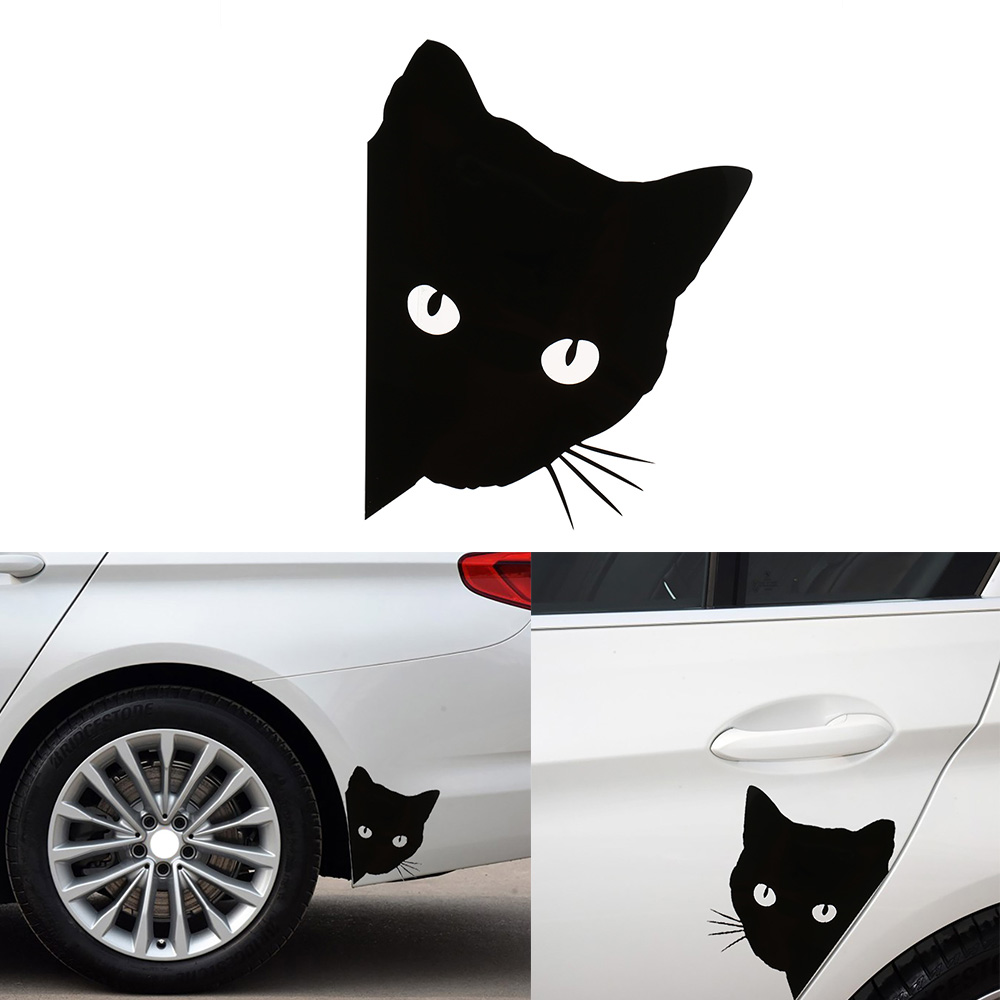 100 pièces voiture autocollant chat visage peering décalcomanies Pet chat moto autocollants décoratifs voiture fenêtre décalcomanies 12*15cm