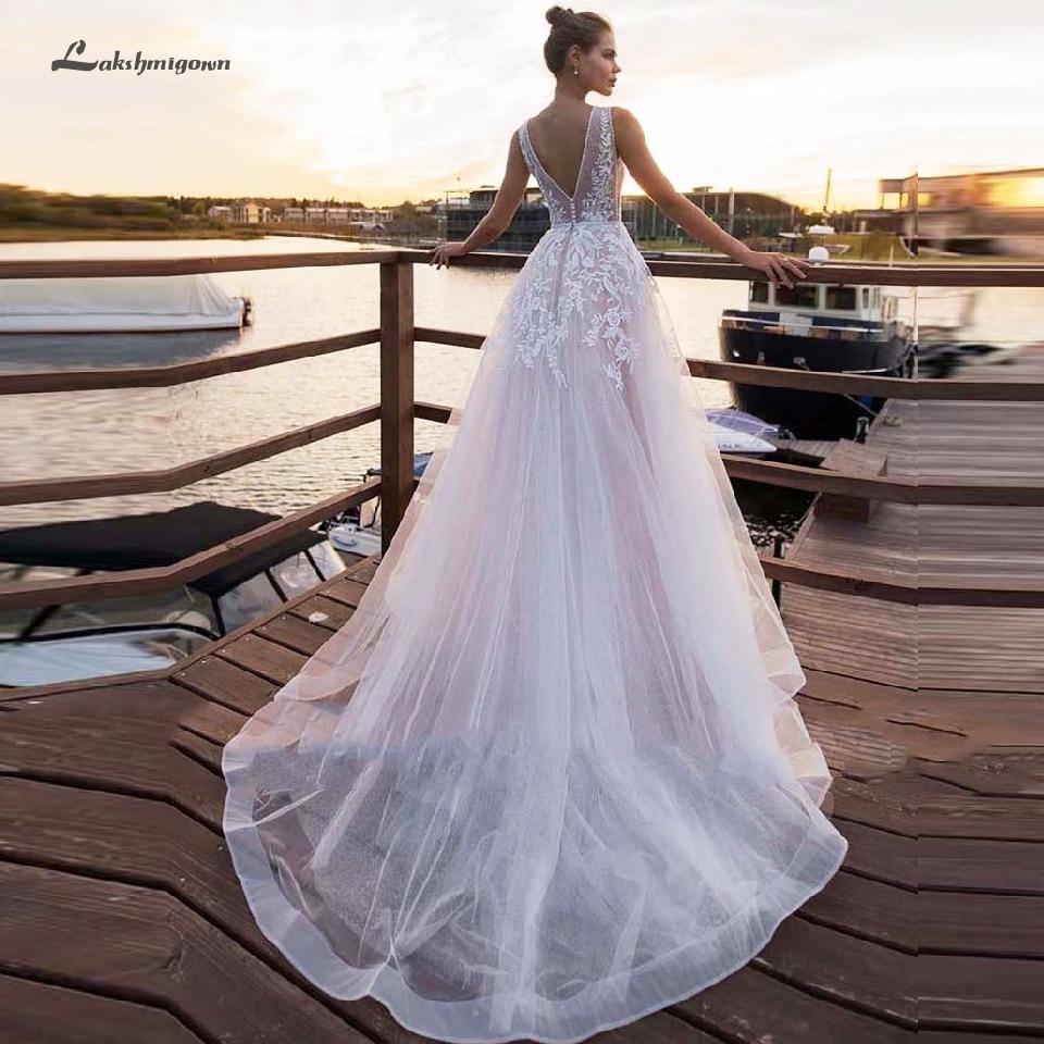 Lakshmigown Baby Pink Boho Wedding Dress V Neck 2019 Tulle Beach Bridal Dresses Lace Wedding Gowns Vestido De Noiva Manga Longa