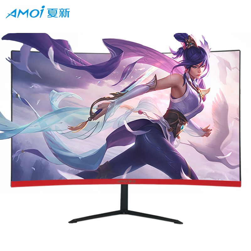 Amoi LED <font><b>24</b></font> <font><b>inch</b></font> Curved 75Hz Monitor ultra-thin surface Computer Game Competition <font><b>LCD</b></font> <font><b>Display</b></font> Screen Full Hdd input HDMI/VGA image