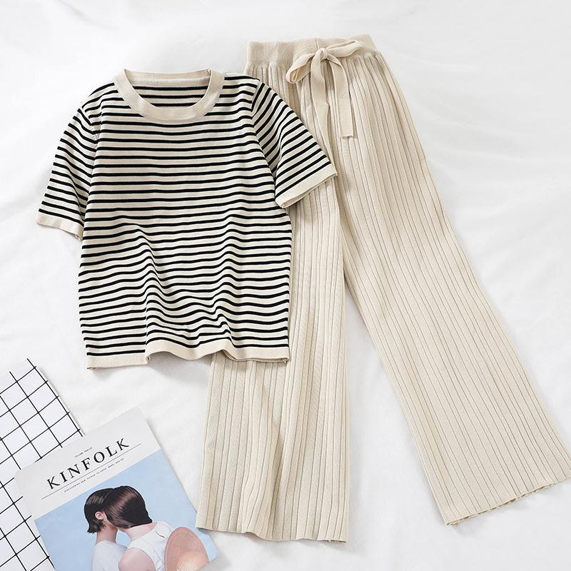 Women Tracksuit Summer Striped Blouse and Pants 2 Piece Sets Korean Casual Loose Outfits Knitted 2020 New Suits