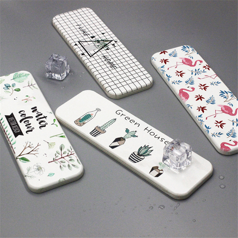 Portable Soap Dishes Diatomite Wash Pad Patterned Diatom Mud Washstand Coaster Bathroom Quick-drying Absorbent Pad Soap Holder