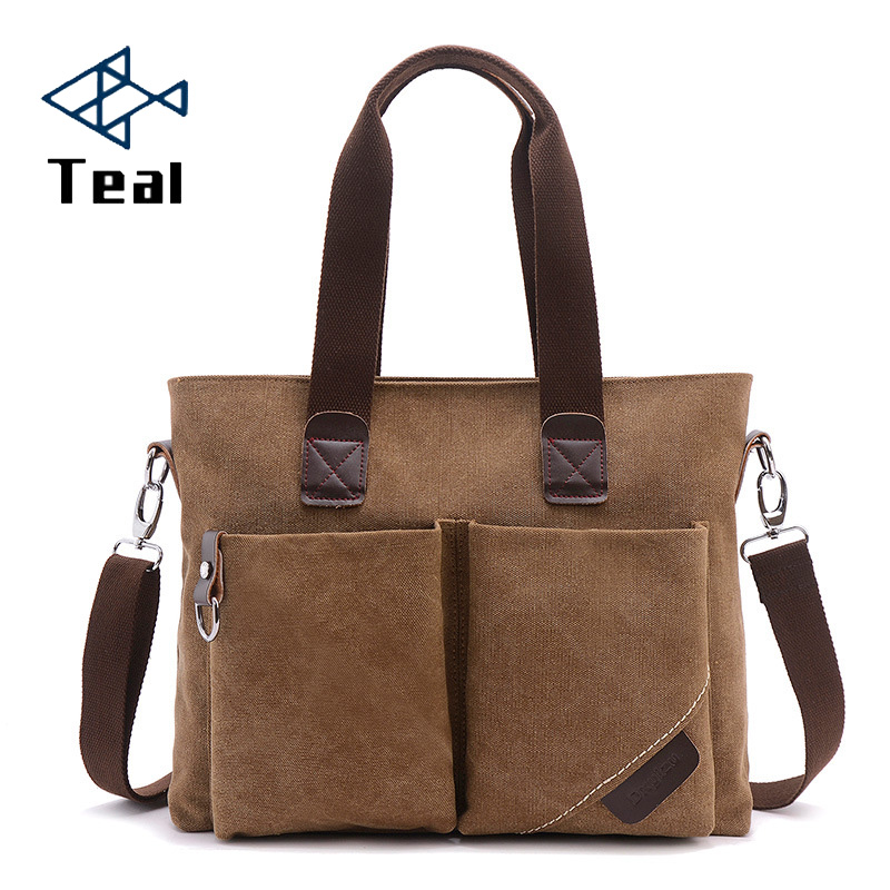 Briefcase Men Vintage Canvas Shoulder Bag For Men Messenger Bag For Men