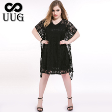 Black Lace Dress Plus Size Vestidos Hollow out Dresses Women Summer 2016 Loose Short Sleeve O neck Backless Sexy L-7XL