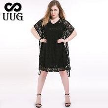 Женское кружевное платье uug черное свободное с коротким рукавом