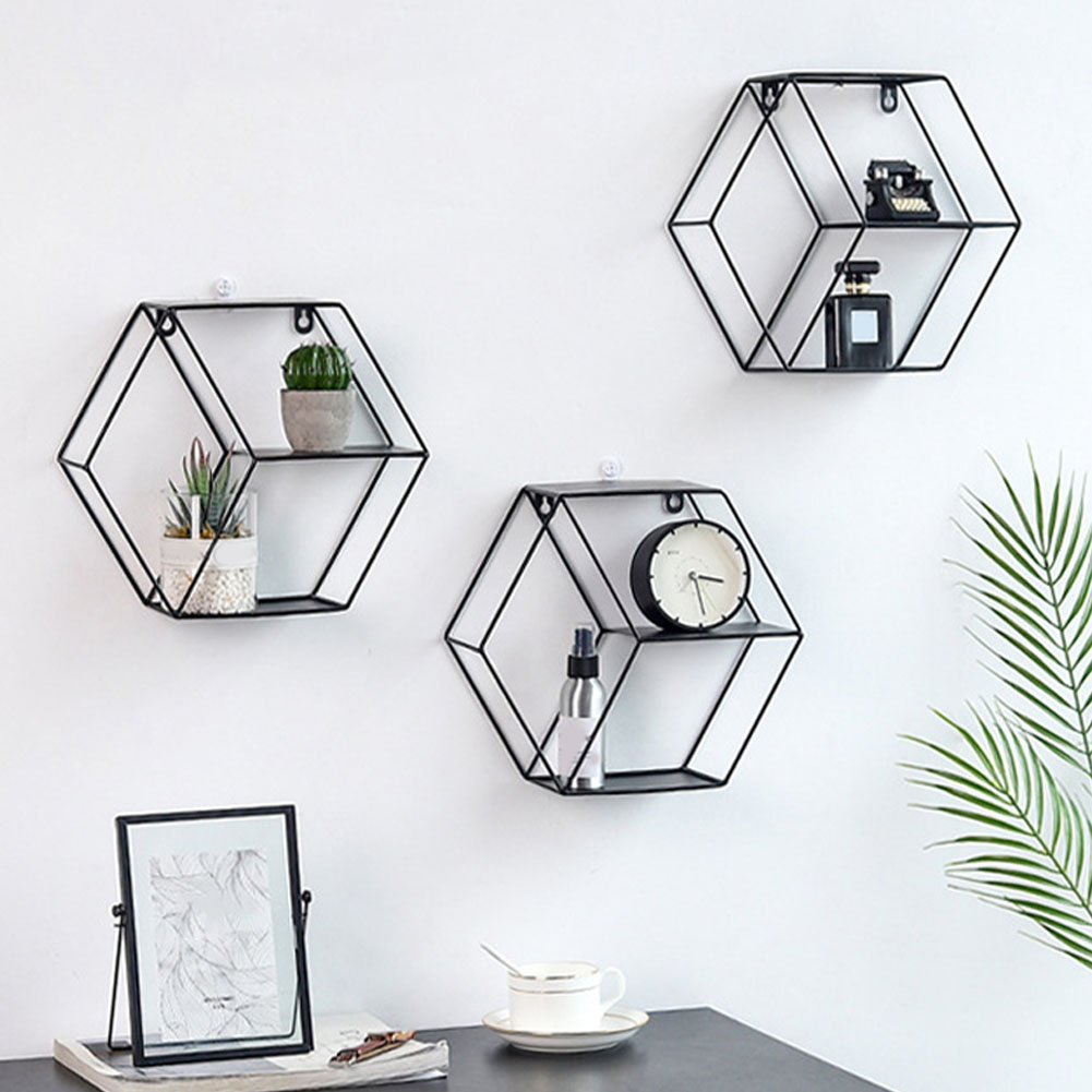 Geometric Figure Space Saving Wall Shelf Holder Iron Home Decor Hanging Living Room Restaurant Bedroom Hexagonal Storage Stand