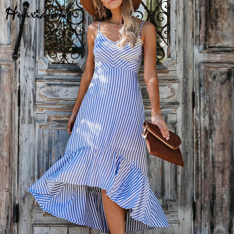 Huaxiafan Maxi Dress Spaghetti Strap Striped Print Long Dresses Sexy V Neck Boho Style Summer Robe Female Vestidos 2020 Vintage