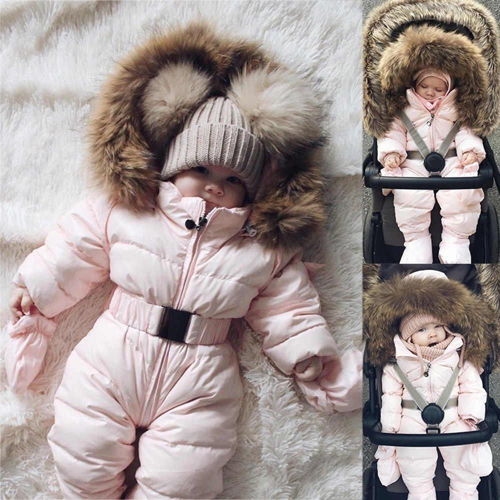 冬服幼児ロンパースベビー防寒着少年少女ジャケットフード付きジャンプスーツ暖かい厚手コート衣装 2019 vetement 新 fille-