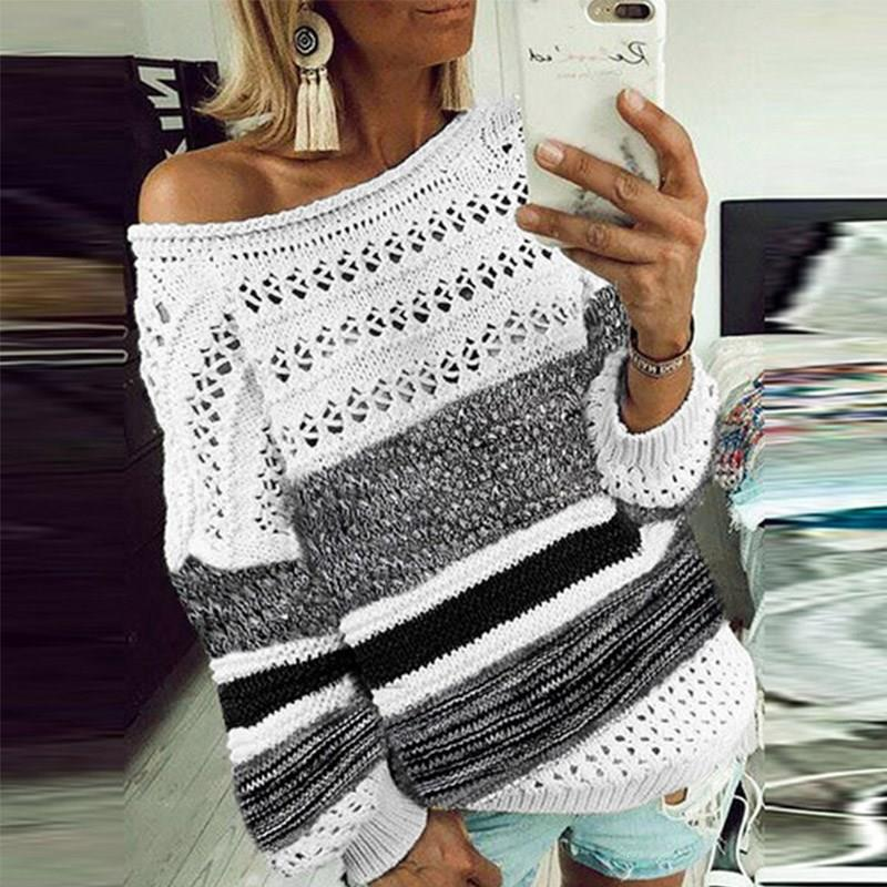 Hollow Out Knitted Sweater Women Sexy Off Shoulder Patchwork Pullover O-Neck Autumn Striped Long Sleeve Top
