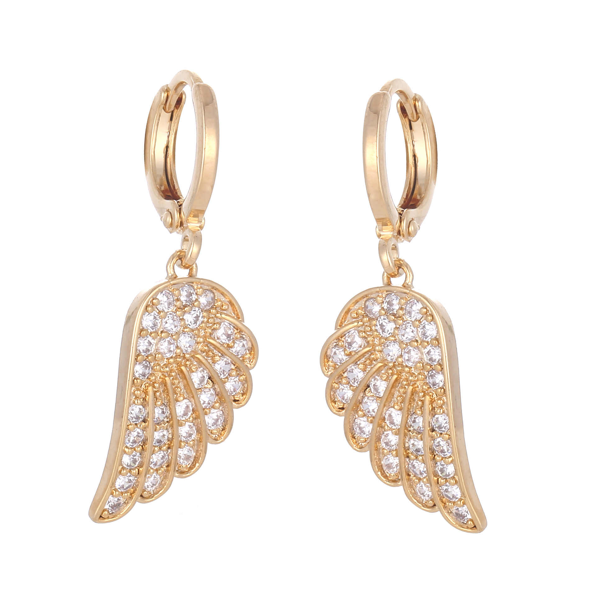 Fashion Jewelry Sweet Romantic Angel Wing CZ Drop Earring For Women
