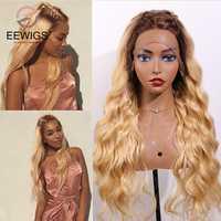 EEWIGS-Peluca de color rubio sin pegamento con malla frontal, pelo de fibra de alta temperatura sintético largo para mujeres negras