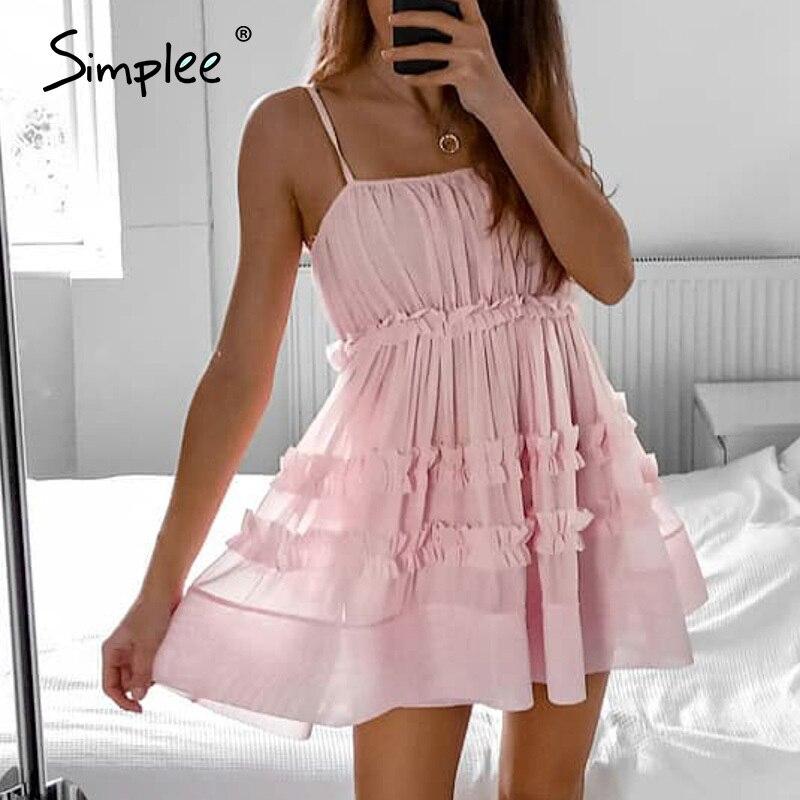 Simplee sexy sleeveless Women dress High waist ruffled holiday summer beach dress Casual solid strap party mini dress vestidos
