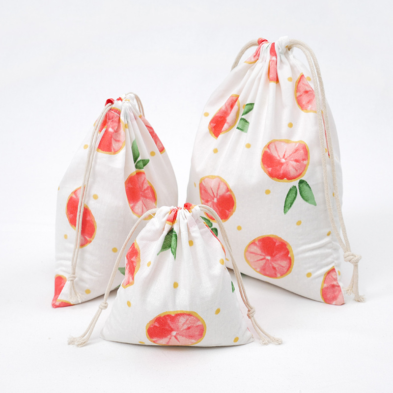 3 Size Concise Style Printed Drawstring Bag Draw Pocket Storage Grapefruit Fruit Pattern Farmhouse Style Sack Fabric Bags