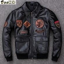 Boollili Men's Leather Jacket Autumn Winter Sheepskin Coat Motorcycle Genuine Le