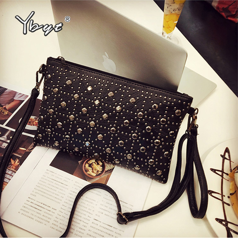 YBYT Fashion Patchwork PU Leather Women Envelope Bag Small Messenger Bag Rivet Clutch Purse Ladies Black Shoulder Bag Handbags