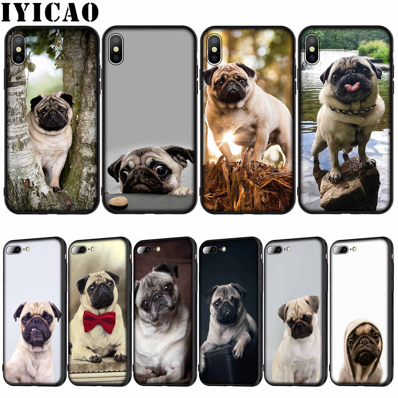Cute Puppy Pug Unicorn Silicone iPhone