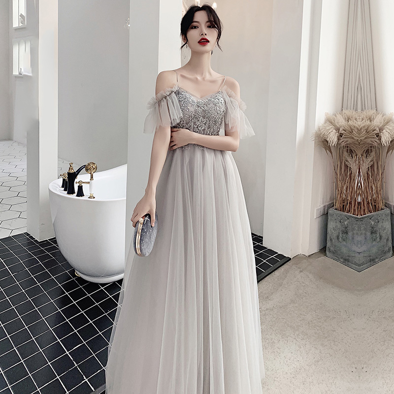 Bridesmaid Dresses Gray Embroidery Sequin Wedding Party Gowns A-Line Long Elegant Women Dress Off The Shoulder Vestidos R064