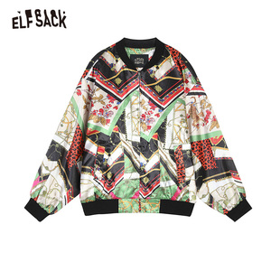 Image 5 - ELFSACK Vintage Multi Print damskie płaszcze, 2019 jesień Streetwear Casual Korea luźne kurtki damskie New Fashion Woman najlepsze ubrania
