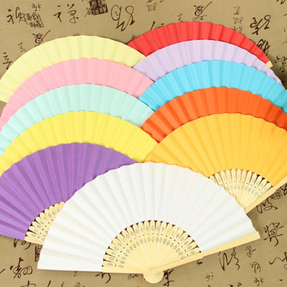 Portable Size DIY Summer Bamboo Folding Hand Held Fan Chinese Dance Party Pocket Gifts Wedding Solid Color Fan Dropshipping