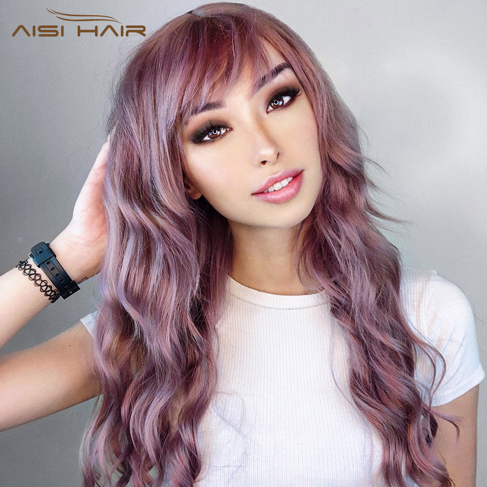 I's A Wig Long Synthetic Wigs For White/Black Women Sale Mix Purple Hair Color Water Wave Natural Wig With Bangs