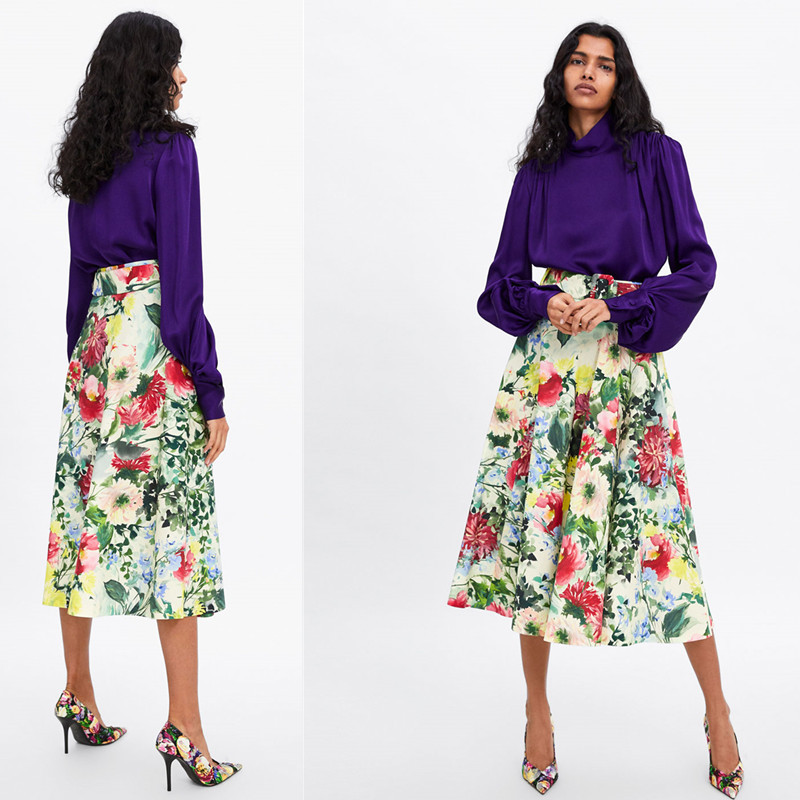 2019 Celebrity Style Europe And America Spring New Style WOMEN'S Dress Printed With Belt Versatile Long Skirts High-waisted Slim