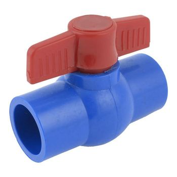 Slip Full Port Red Handle Lever U-PVC Ball Valve Blue