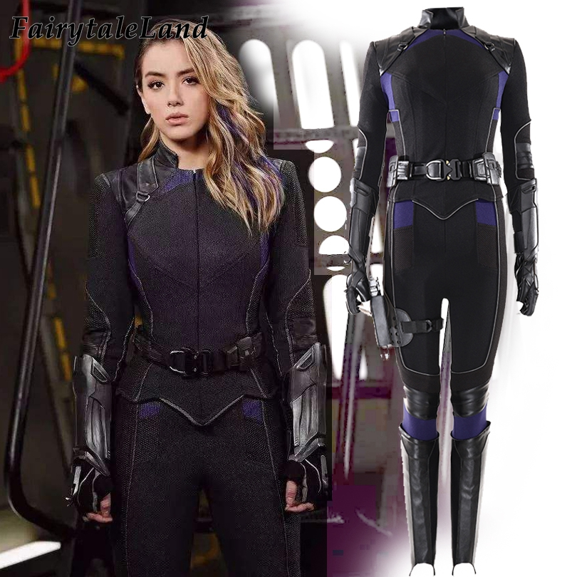 Agents of <font><b>S</b></font>.H.I.E.L.<font><b>D</b></font>. Season 6 Skye Cosplay Costume Halloween Superhero Quake Black Outfit <font><b>Sexy</b></font> Daisy Johnson Shield Jacket image