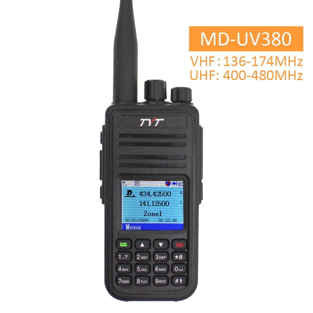 TYT MD-UV380 Walkie Talkie Dual Band Radio MD-380 MD380 VHF UHF Digital DMR Two Way Radio Dual Time Dlot Transceiver