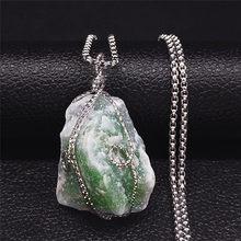 Collier de pierre naturelle verte en acier inoxydable, couleur argent, irrégulier, bijoux pour hommes/femmes, N5038S04