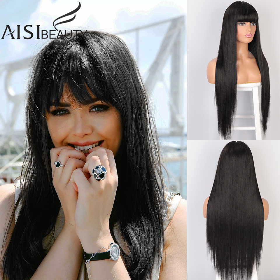AISIBEAUTY Wigs For Black Women Long Straight Wig With Bangs Synthetic Middle Division Wigs For Women Natural Cosplay Hair