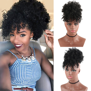 High Puff Afro Kinky Curly Synthetic Ponytail with Bangs Ponytail Hair Extension Drawstring Short Afro Pony Tail Clip in for Wom(China)