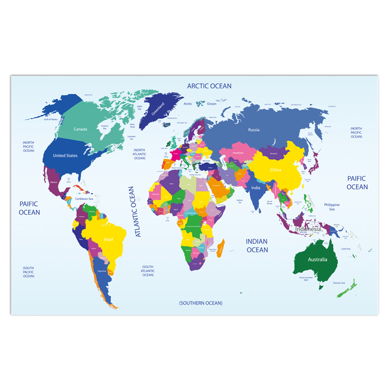 World Map Poster Size Wall Decoration Large Map Of The World 80x52cm Waterproof Canvas Map Decorative Pain