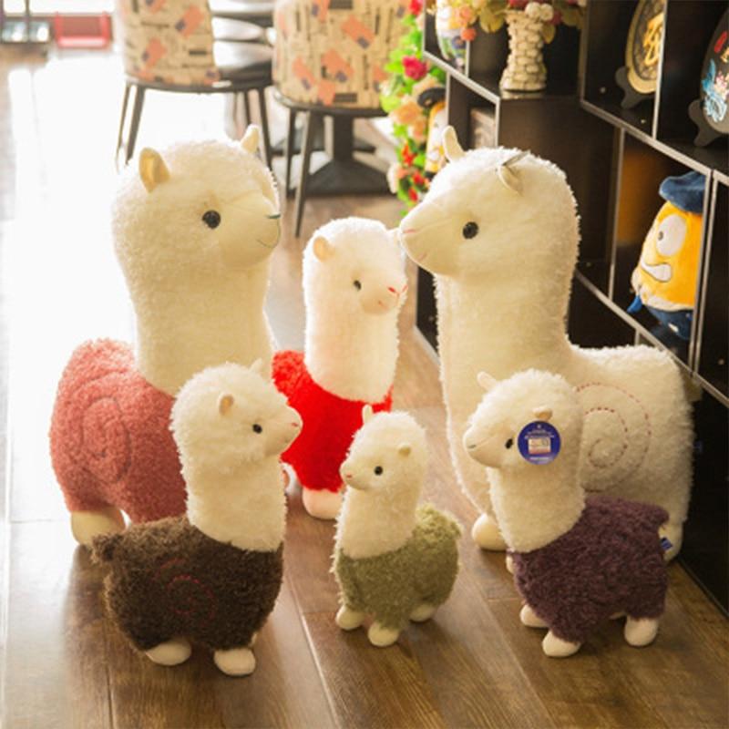 Sevimli gökkuşağı alpaka peluş bebek 4 boy Kawaii maskot renkli yastık doldurulmuş hayvanlar Llama Alpacasso oyuncaklar çocuk noel hediyesi
