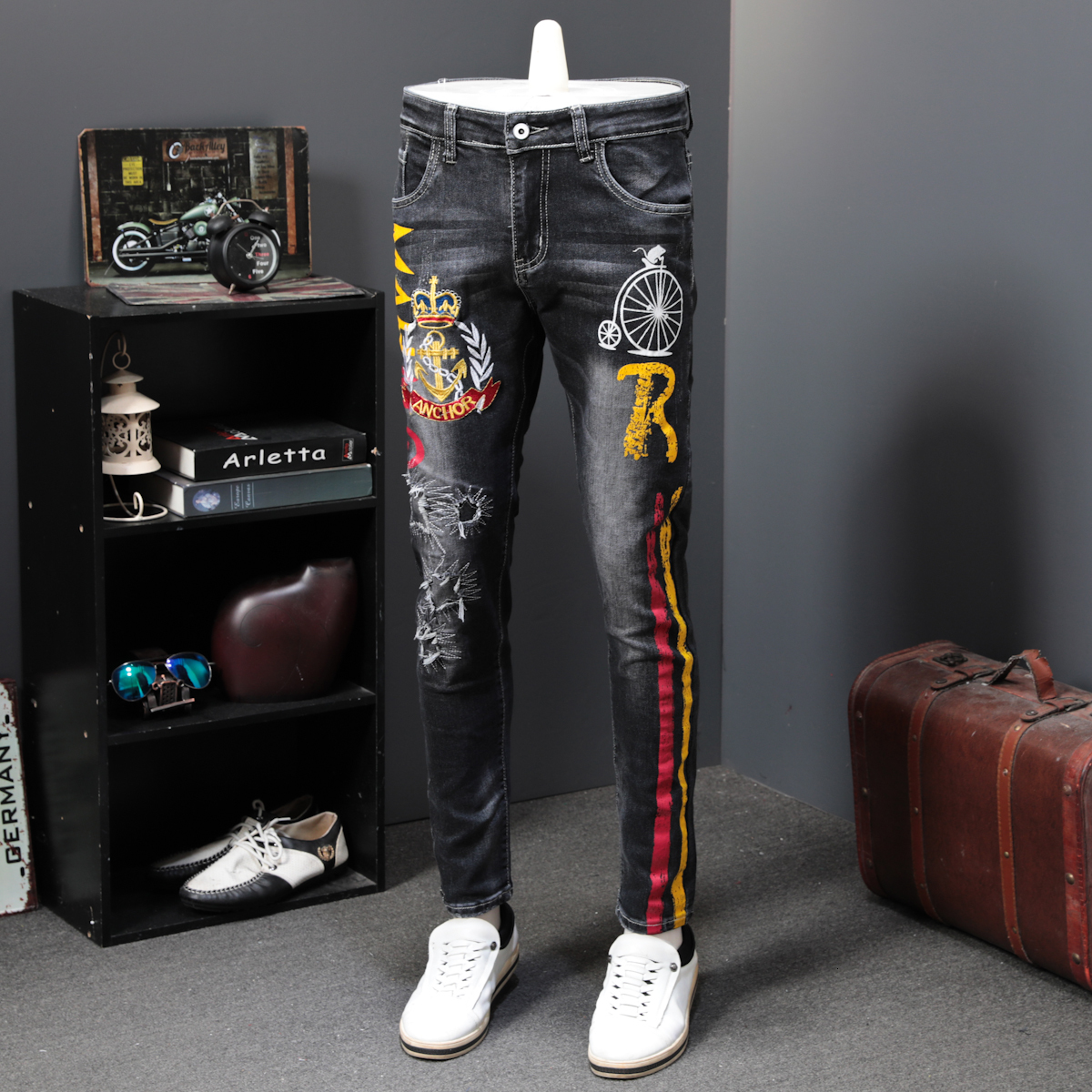Autumn Men Elastic Long Trousers Fashion Print Jeans Male Colored Drawing Painted Slim Denim Pants Designer Jeans Printing Jeans