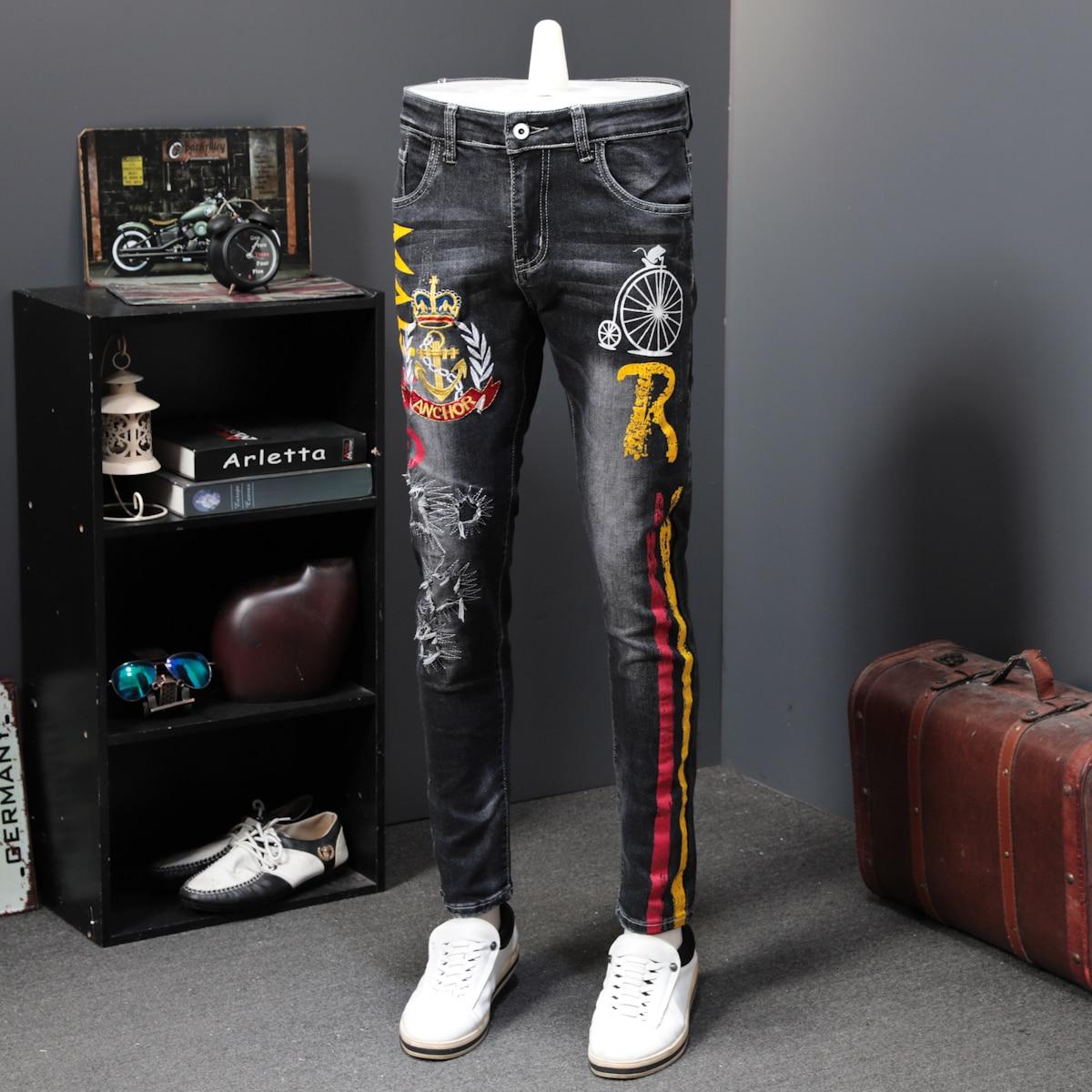 Autumn Men Elastic Long Trousers Fashion Print Jeans Male Colored Drawing Painted Slim Denim Pants Designer Jeans Printing Jeans
